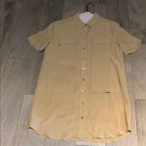 Equipment Tan Silk Shirt Dress